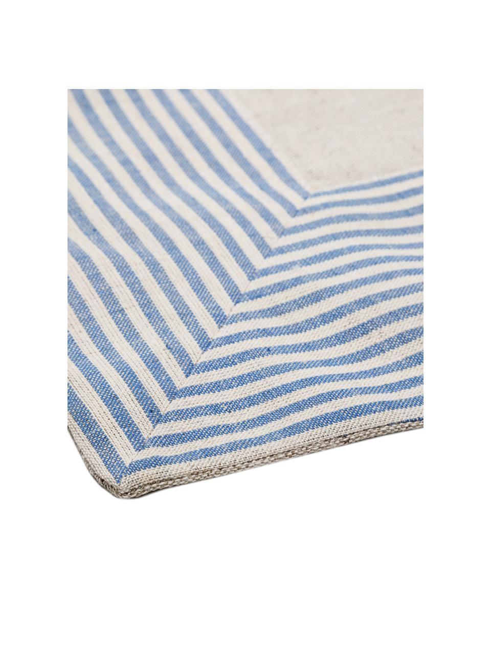 Leinengemisch-Tischdecke Milda in Beige mit blauen Streifen, Blau, Beige, Für 2 - 4 Personen (B 90 x L 90 cm)