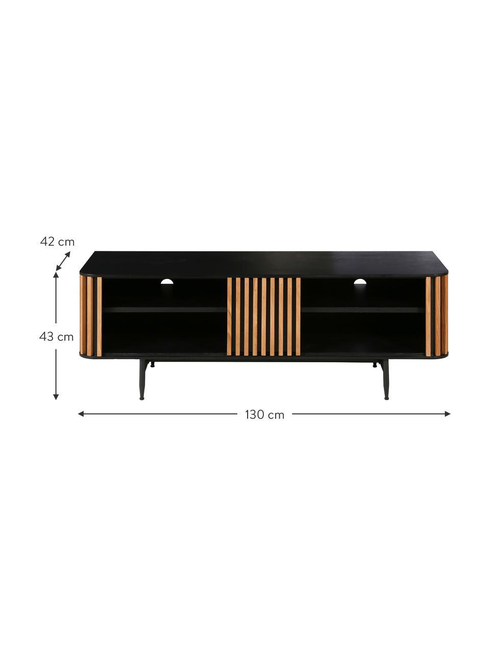 Mobile TV con rivestimento in legno di quercia Linea, Piedini: metallo verniciato, Nero, legno di quercia, Larg. 130 x Alt. 43 cm