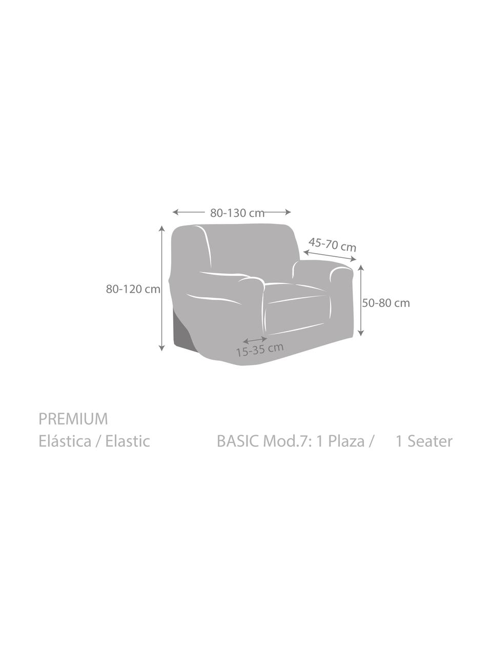 Copertura poltrona Roc, 55% poliestere, 35% cotone, 10% elastomero, Color crema, Larg. 130 x Alt. 120 cm