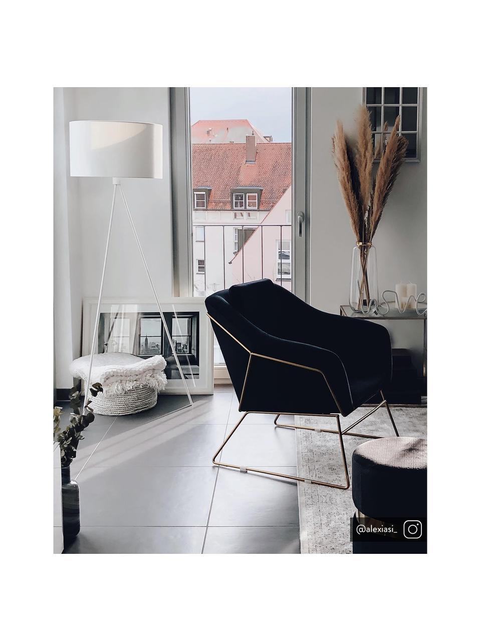 Lampadaire trépied textile Cella, Blanc
