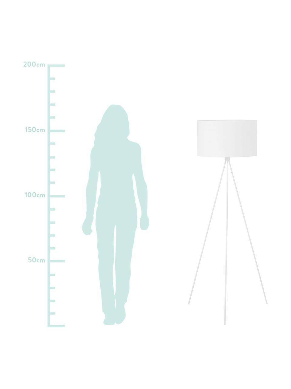 Tripod Stehlampe Cella mit Stoffschirm, Lampenschirm: Baumwollgemisch, Lampenfuß: Metall, pulverbeschichtet, Weiß, Ø 48 x H 158 cm