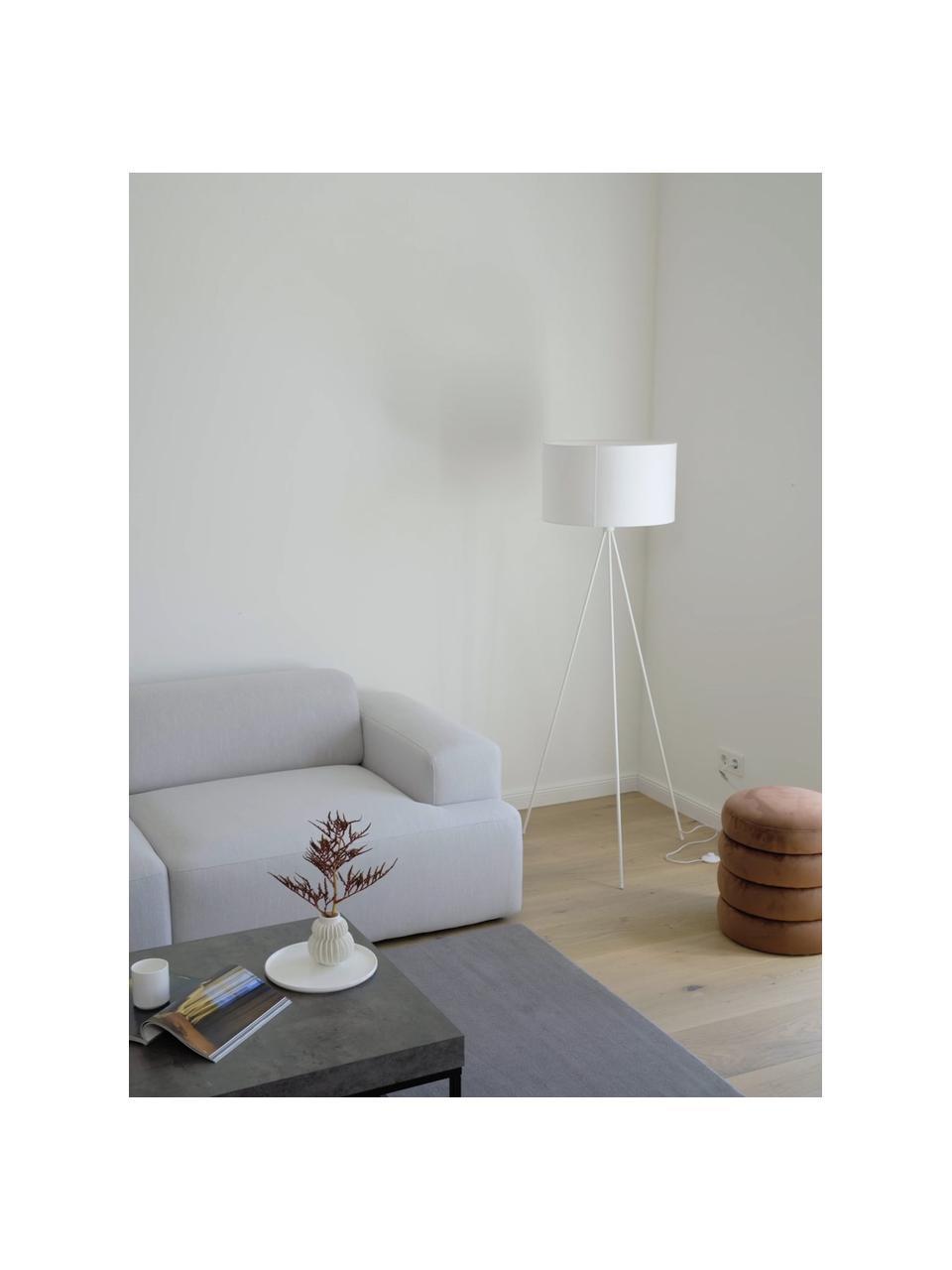 Lampada da terra con paralume in tessuto Cella, Base della lampada: metallo verniciato a polv, Paralume: miscela di cotone, Bianco, Ø 48 x Alt. 158 cm