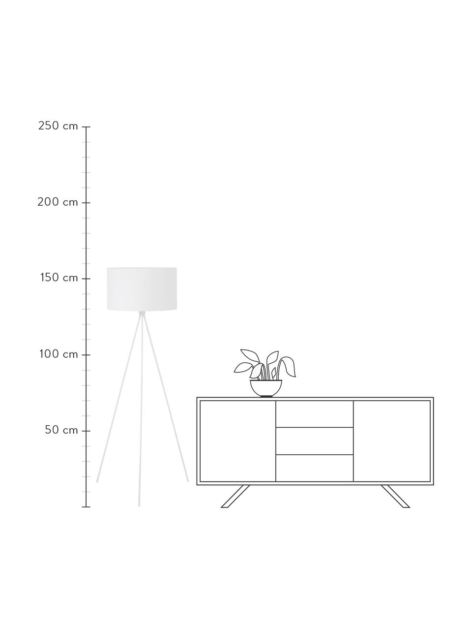 Lámpara de pie trípode Cella, Pantalla: mezcla de algodón, Cable: plástico, Blanco, Ø 48 x Al 158 cm