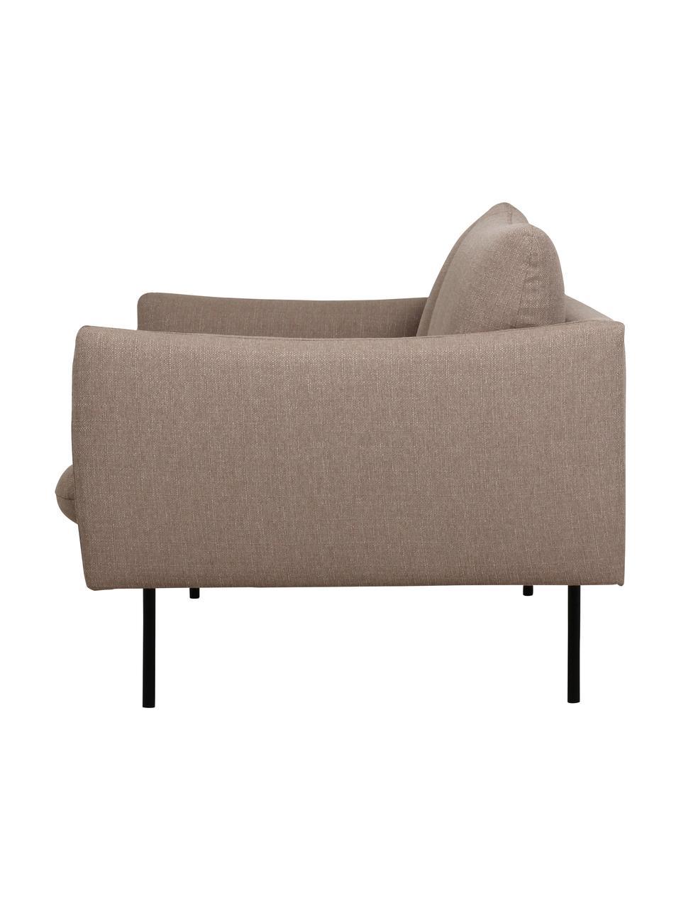 Canapé 2places taupe avec pieds en métal Moby, Tissu taupe