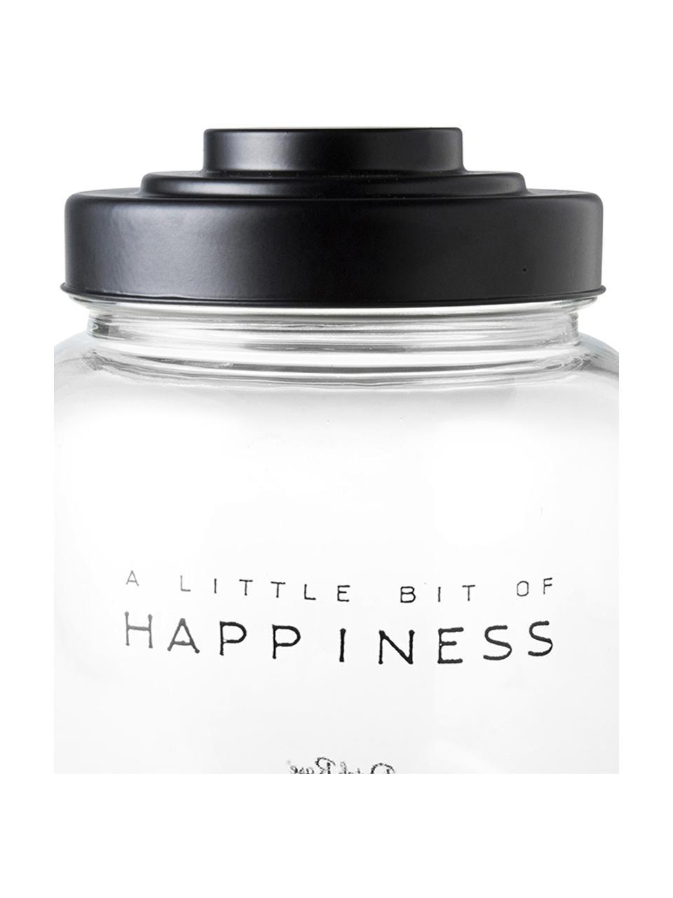 Aufbewahrungsglas Happiness, Ø 16 x H 21 cm, Deckel: Porzellan, lackiert, Transparent, Ø 16 x H 21 cm