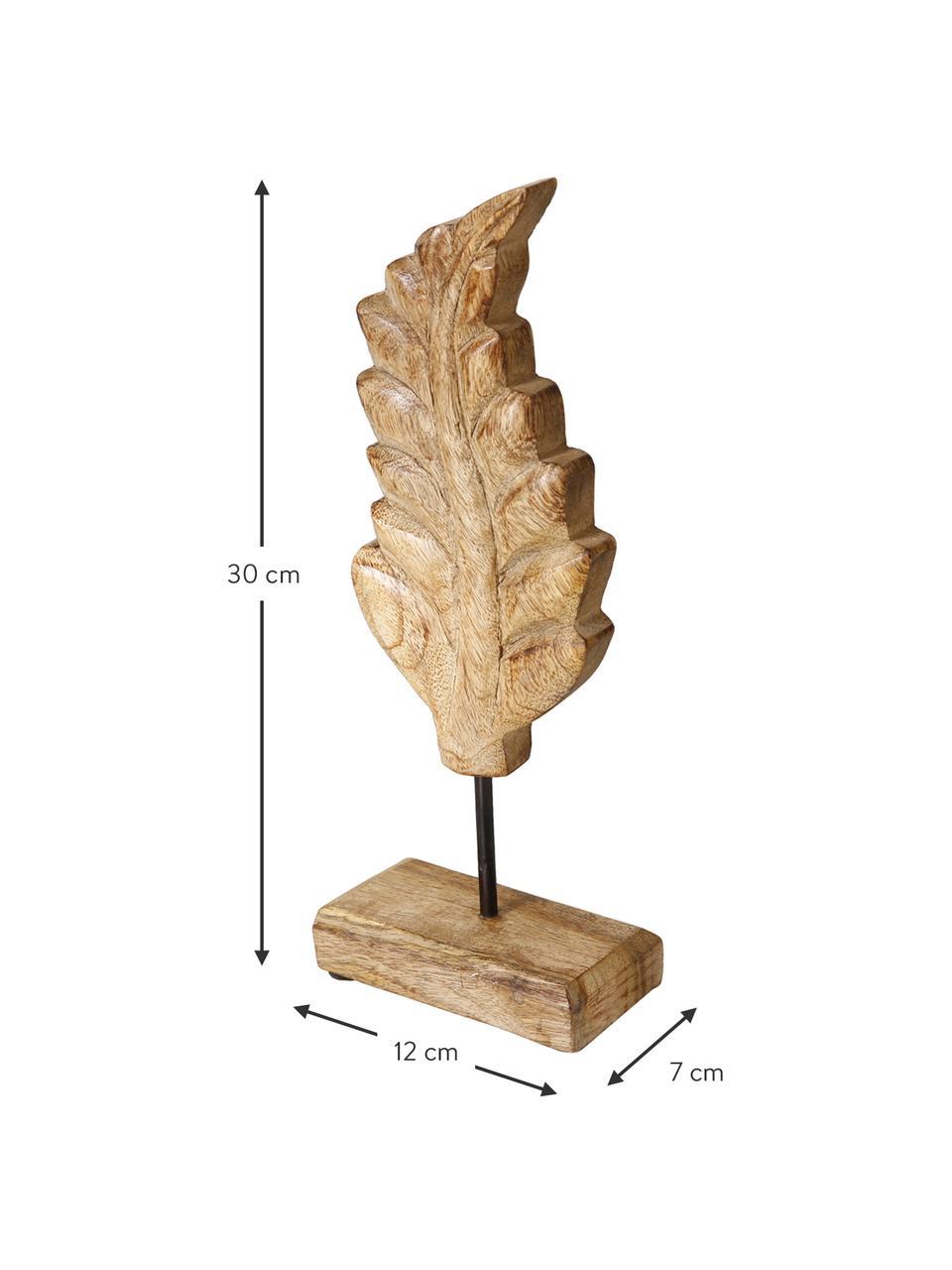 Deko-Objekt-Set Leaf, 3-tlg., Mangoholz, Braun, 12 x 30 cm
