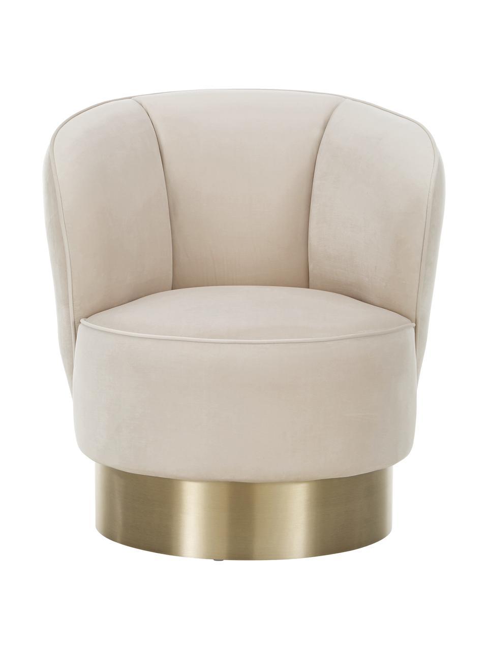 Fotel koktajlowy  z aksamitu Olivia, Tapicerka: aksamit (poliester) Dzięk, Aksamit beżowy, S 70 x W 70 cm