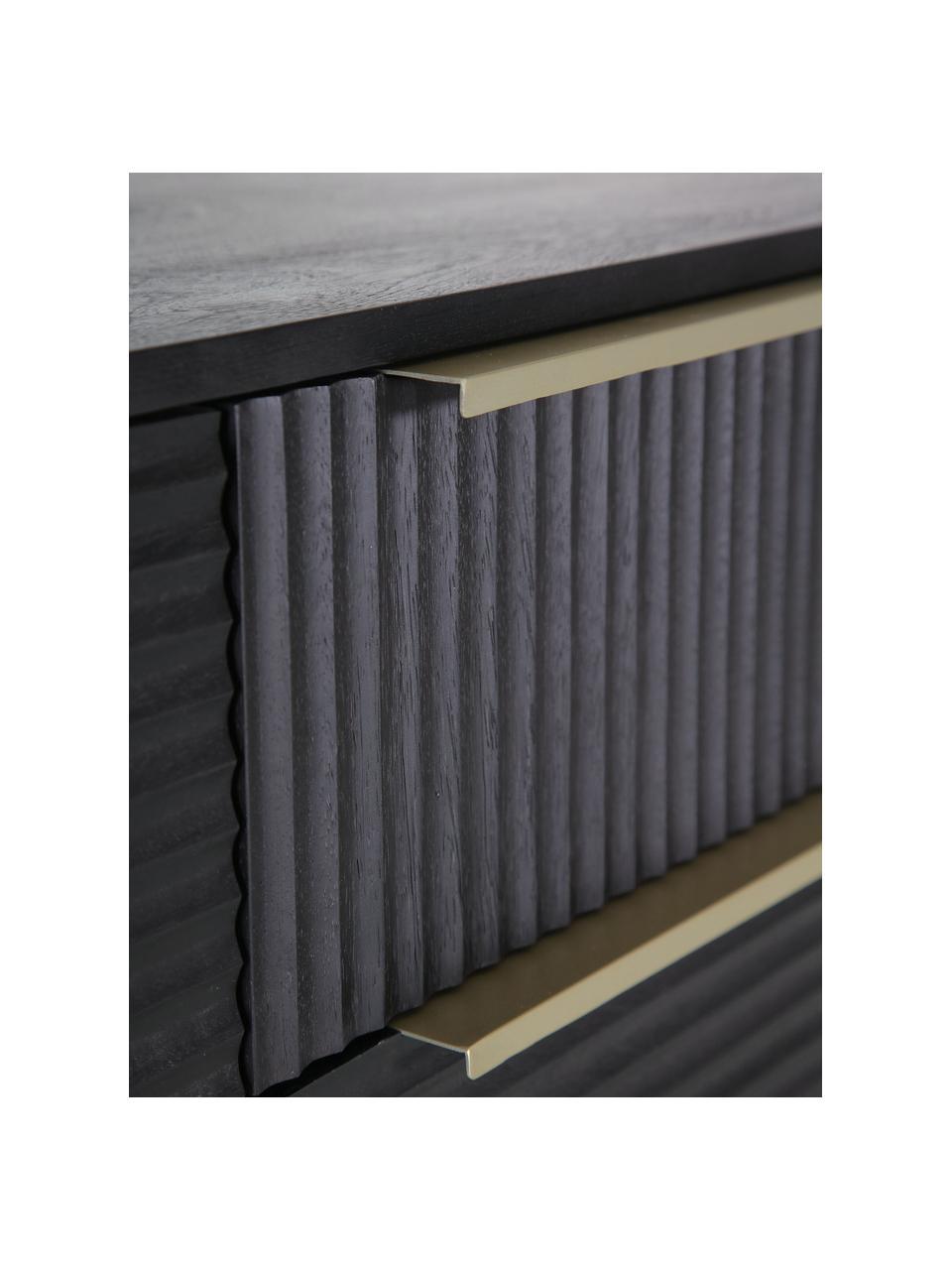 Akazienholz-Sideboard Mamba mit geriffelter Front, Korpus: Akazienholz, lackiert, Beine: Metall, lackiert, Schwarz, 175 x 77 cm