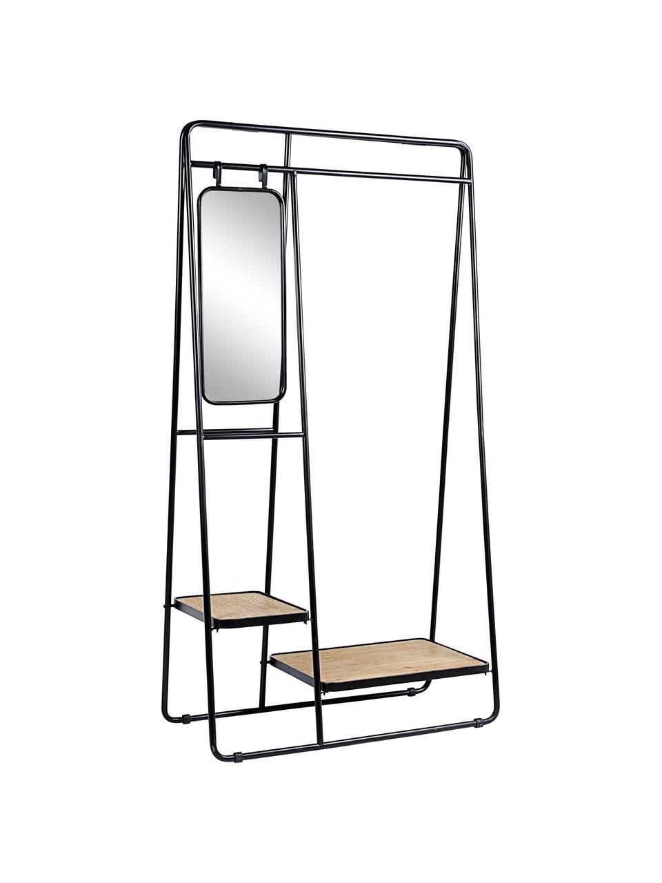 Appendiabiti con specchio Jerrod, Struttura: metallo epossidico e vern, Ripiani: pannello di fibra a media, Superficie dello specchio: vetro, Nero, marrone, Larg. 93 x Alt. 178 cm