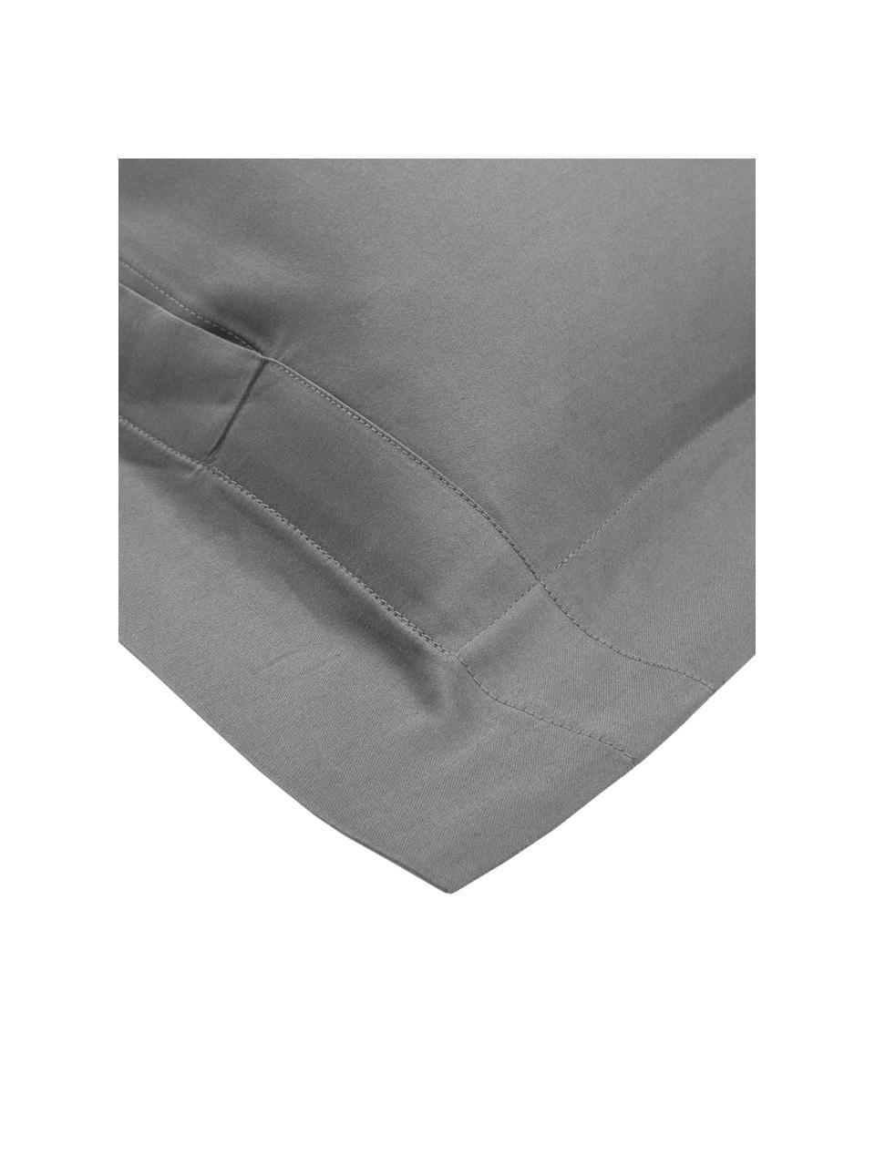 Satin-Kopfkissenbezüge Premium aus Bio-Baumwolle in Dunkelgrau mit Stehsaum, 2 Stück, Webart: Satin Fadendichte 400 TC,, Dunkelgrau, 40 x 80 cm
