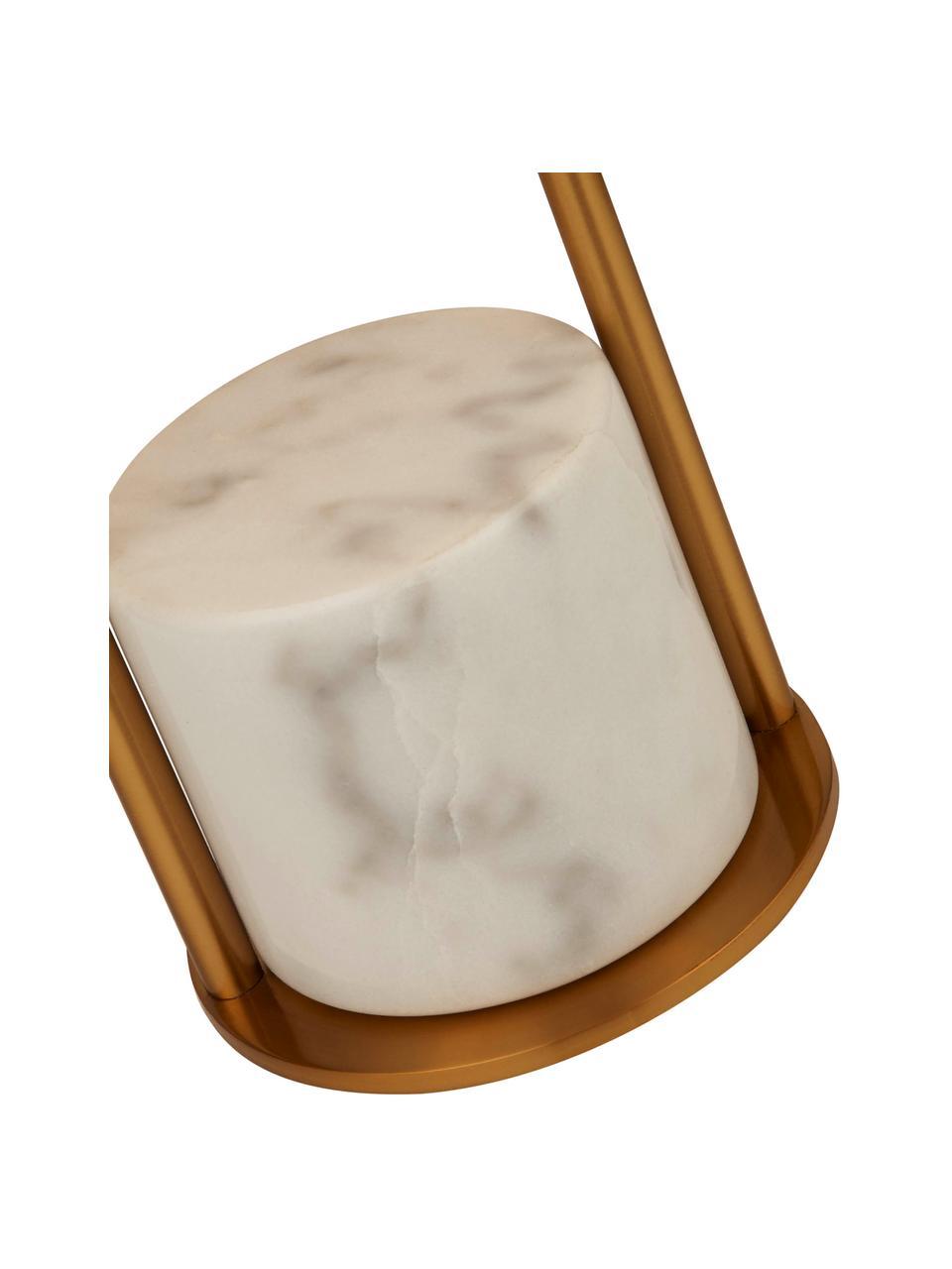 Grande lampe à poser avec pied en marbre Quebec, Doré, blanc