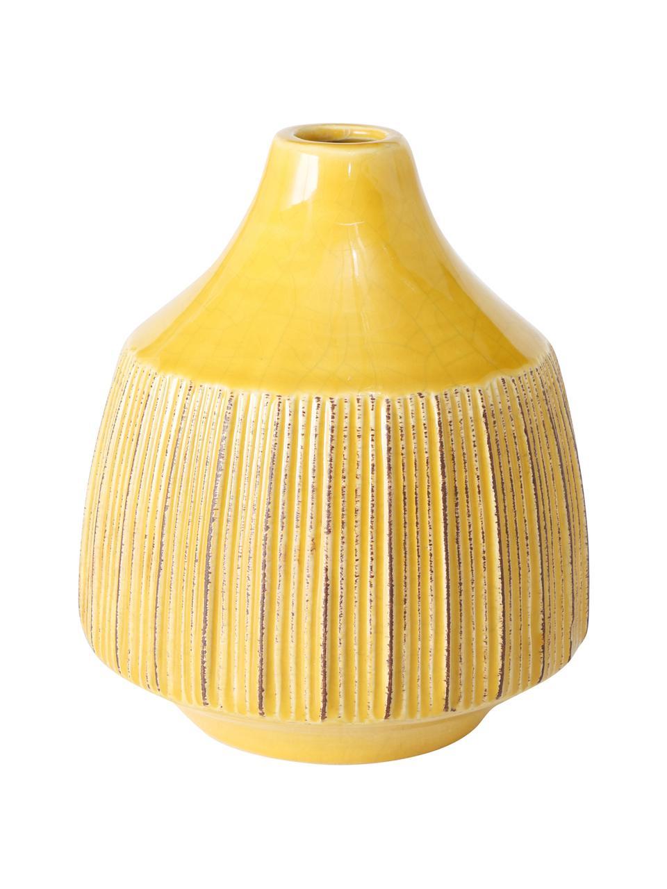 Vaso decorativo in gres Menos, Gres, Giallo, Ø 12 x Alt. 14 cm