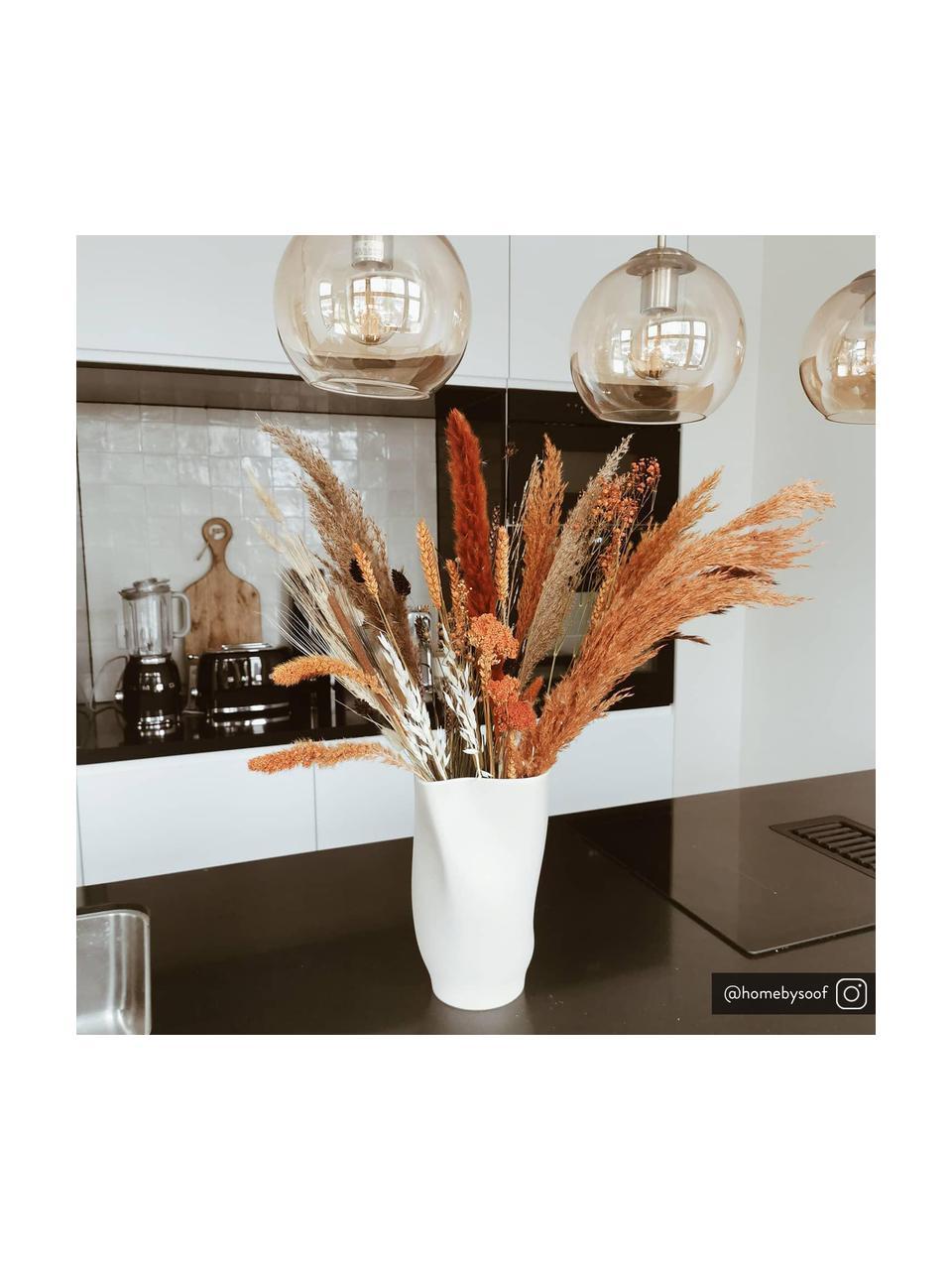 Hanglamp Hamilton in messing, Frame: geborsteld metaal, Baldakijn: geborsteld metaal, Amberkleurig, 81 x 13 cm
