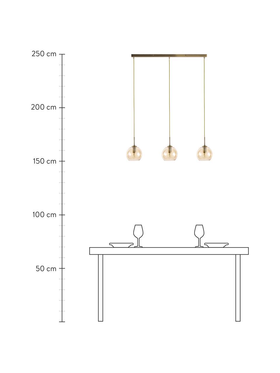 Lampa wisząca Hamilton, Stelaż: metal szczotkowany, Odcienie bursztynowego, S 81 x W 13 cm