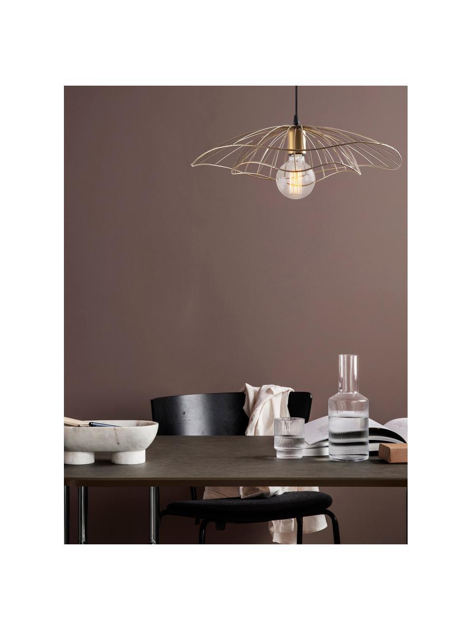 Lampa wisząca z metalu Tel, Odcienie mosiądzu, czarny, Ø 50 x W 14 cm