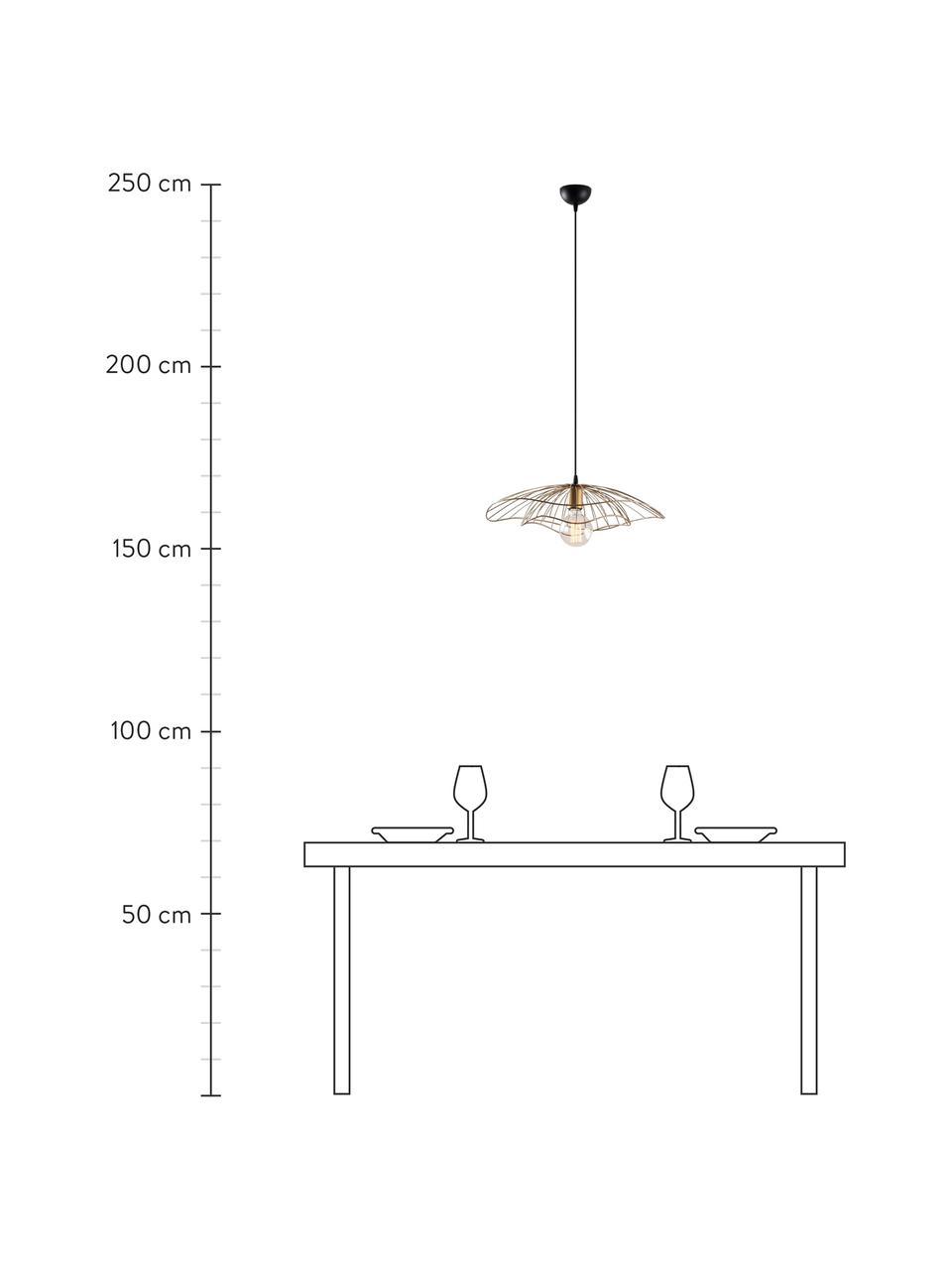 Lampada a sospensione in metallo Tel, Paralume: metallo rivestito, Baldacchino: metallo rivestito, Ottonato, nero, Ø 50 x Alt. 14 cm