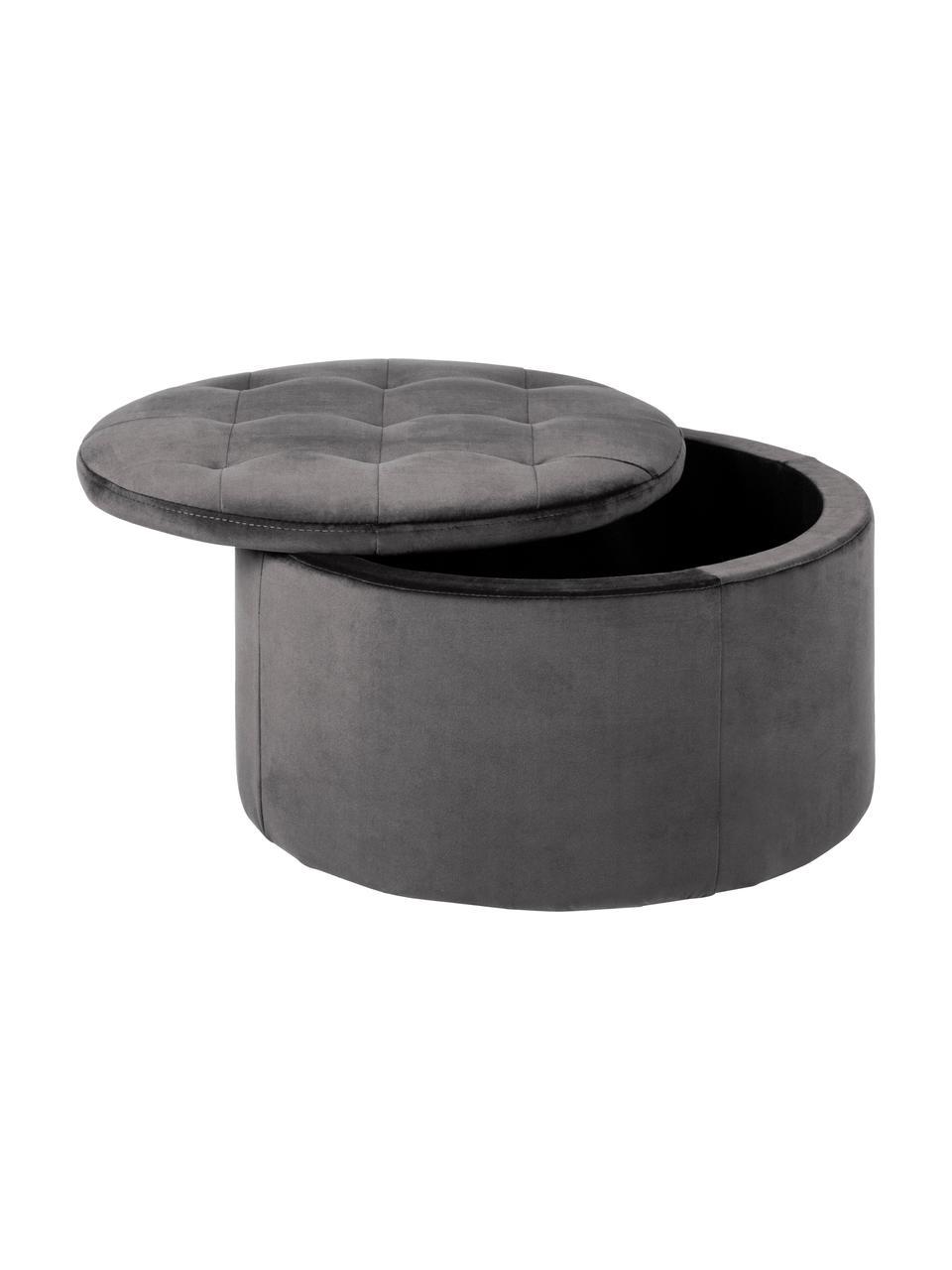 Samt-Hocker Retina mit Stauraum in Grau, Bezug: Polyestersamt 25.000 Sche, Gestell: Mitteldichte Holzfaserpla, Dunkelgrau, Ø 60 x H 35 cm
