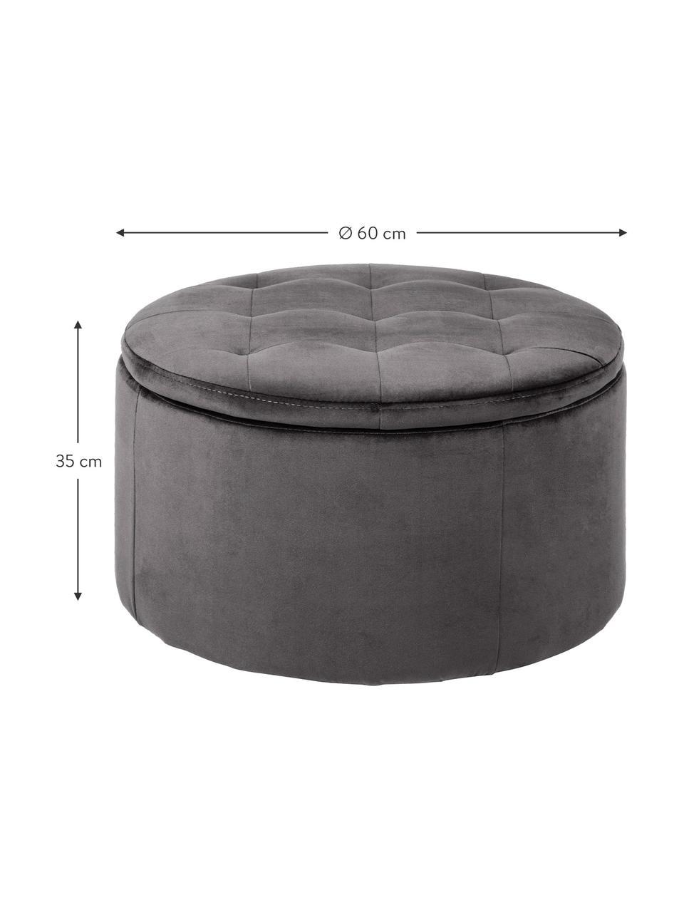 Pouf contenitore in velluto grigio Retina, Rivestimento: velluto di poliestere 25., Struttura: pannello di fibra a media, Grigio scuro, Ø 60 x Alt. 35 cm