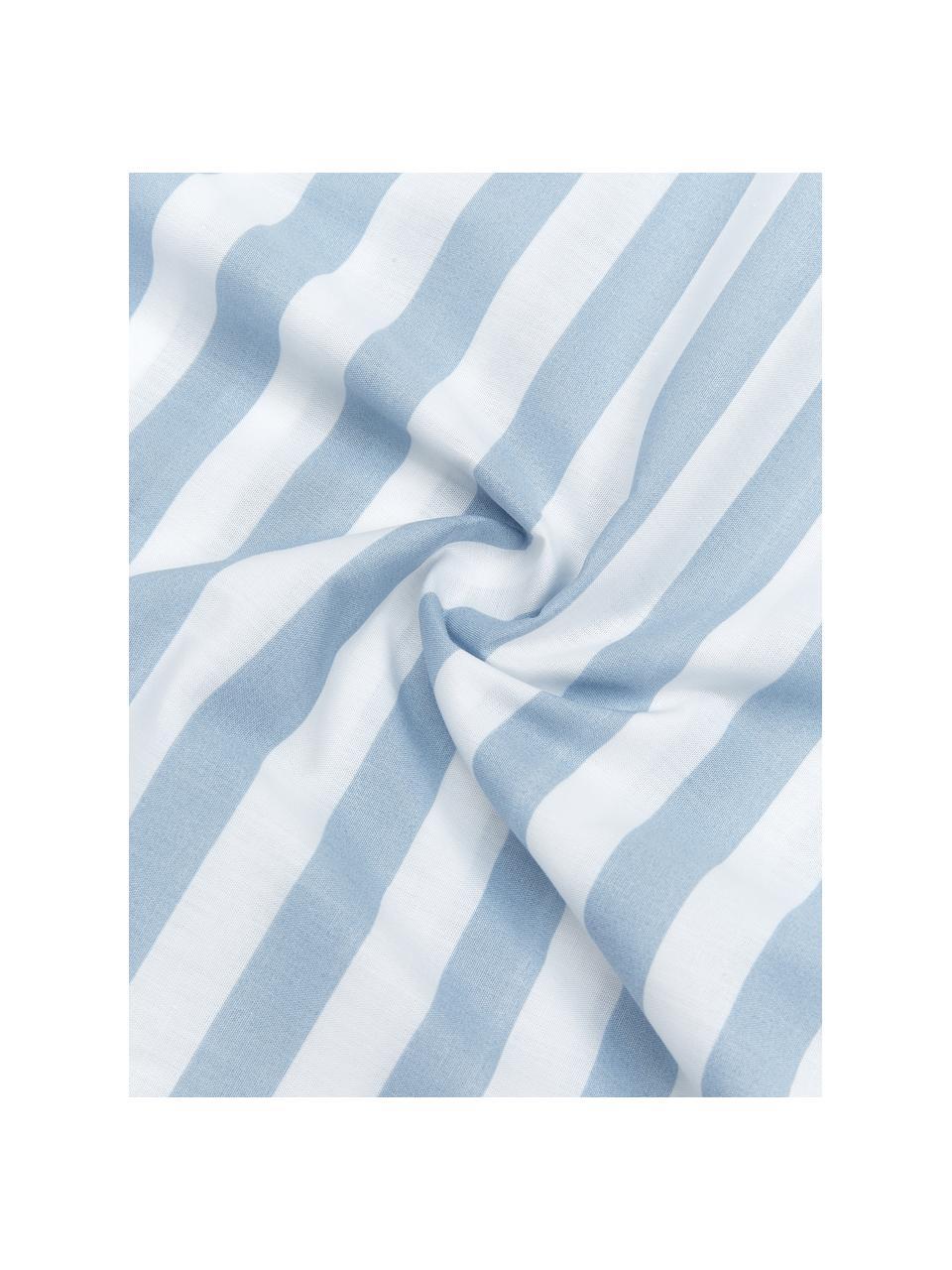 Gestreifte Baumwollperkal-Bettwäsche Yuliya, Webart: Perkal Fadendichte 180 TC, Blau, Weiß, 240 x 220 cm + 2 Kissen 80 x 80 cm