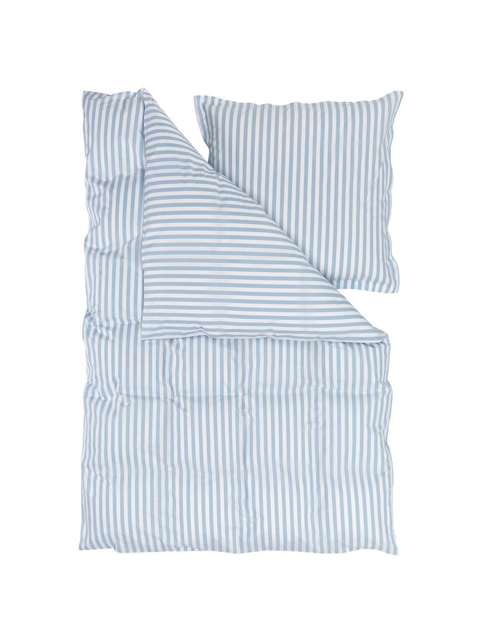 Gestreifte Baumwollperkal-Bettwäsche Yuliya Hellblau/Weiß, Webart: Perkal Fadendichte 180 TC, Blau, Weiß, 240 x 220 cm + 2 Kissen 80 x 80 cm