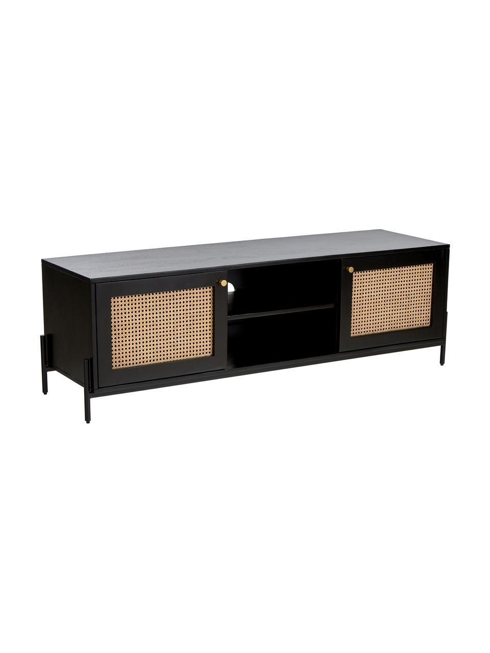 Tv-meubel Vienna met Weens vlechtwerk, Frame: massief gelakt mangohout, Poten: gepoedercoat metaal, Zwart, beige, 160 x 50 cm
