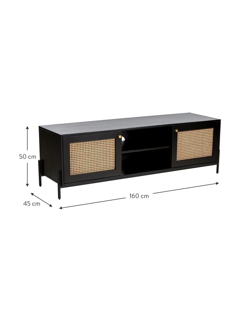 Mobile TV con intreccio viennese Vienna, Piedini: metallo verniciato a polv, Nero, beige, Larg. 160 x Alt. 50 cm
