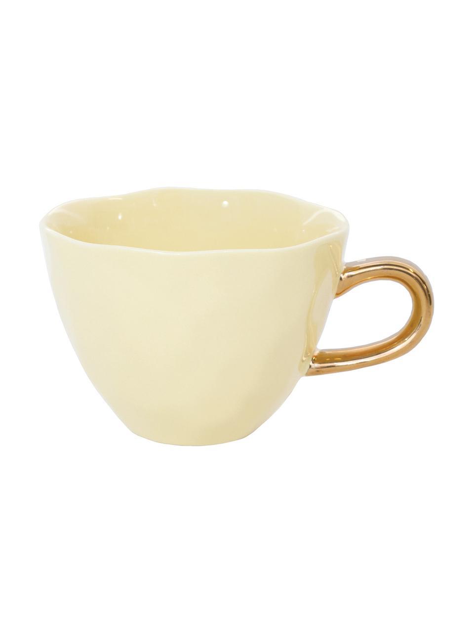 Tasse Good Morning in Gelb mit goldfarbenem Griff, Steingut, Gelb, Goldfarben, Ø 11 x H 8 cm