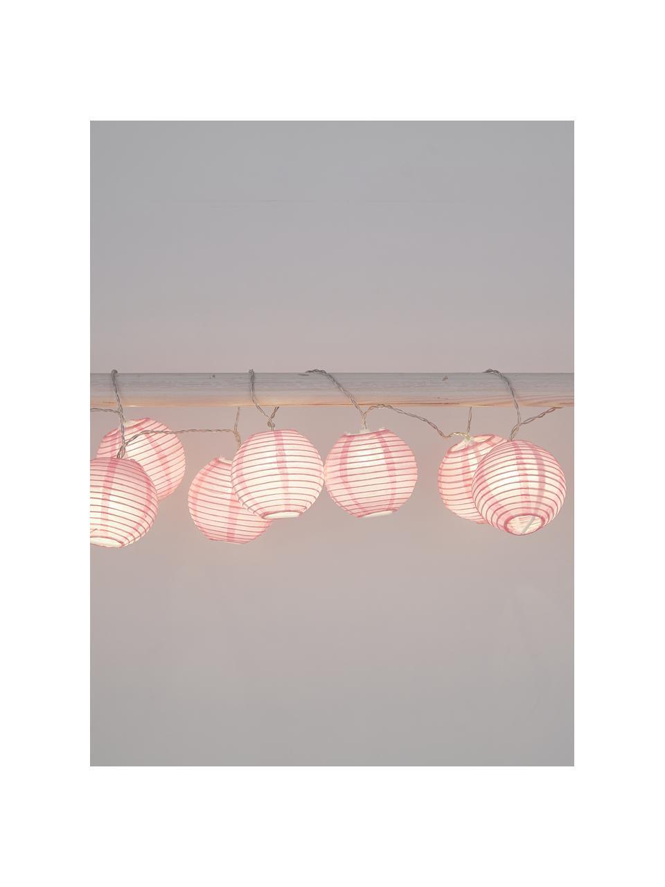 LED-Lichterkette Festival, 300 cm, 10 Lampions, Lampions: Papier, Rosa, L 300 cm