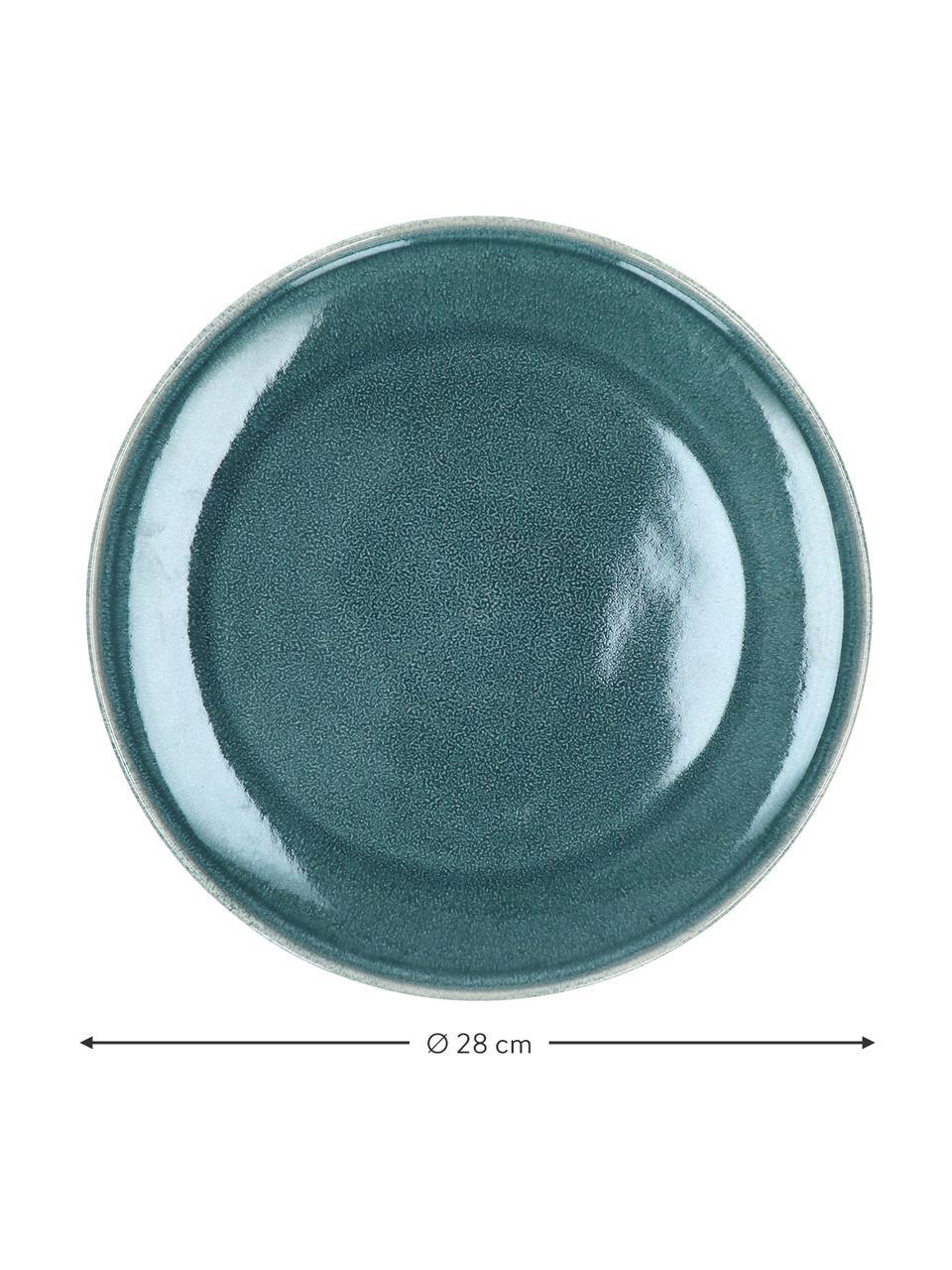 Talerz duży z kamionki Audrey, 2 szt., Kamionka, Zielononiebieski, Ø 28 cm