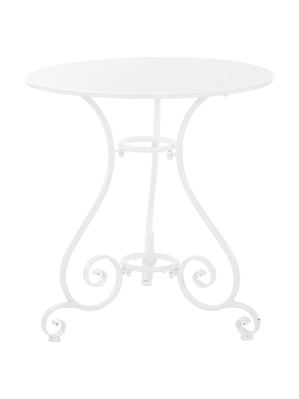 Table de jardin ronde en métal Etienne, Blanc