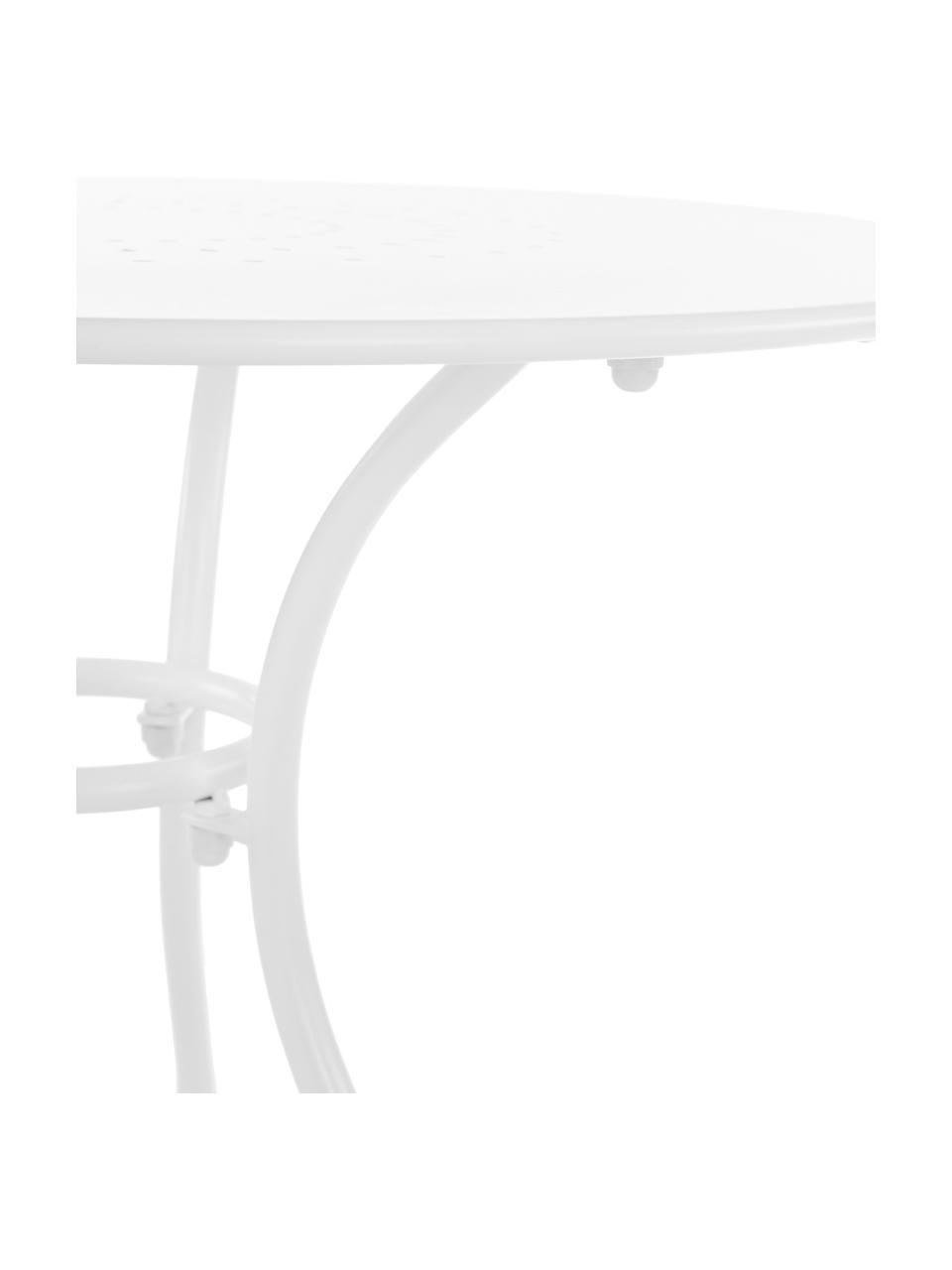 Runder Gartentisch Etienne aus Metall, Stahl, witterungsbeständig pulverbeschichtet, Weiß, Ø 70 x H 72 cm