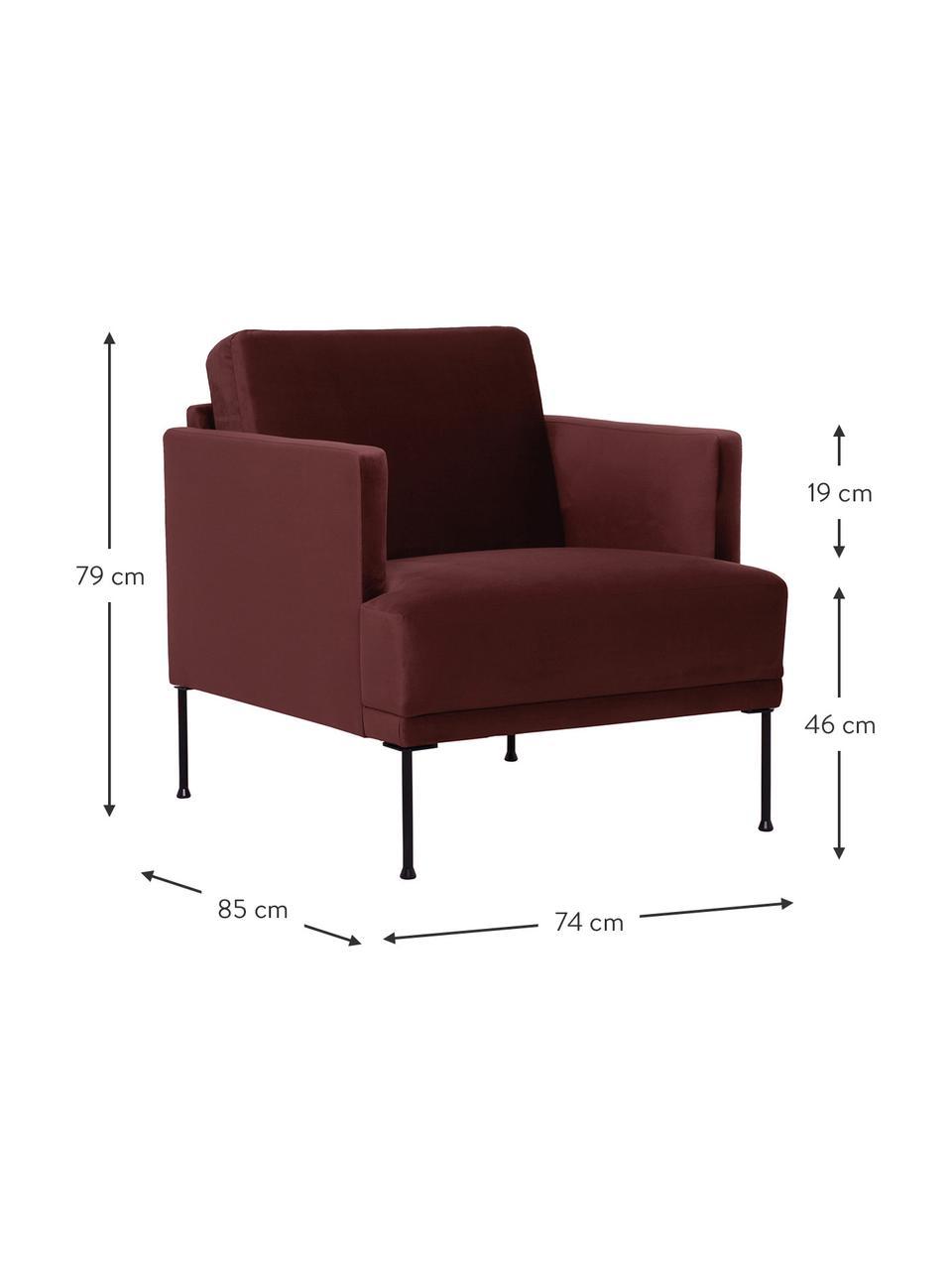 Samt-Sessel Fluente in Rostrot mit Metall-Füßen, Bezug: Samt (Hochwertiger Polyes, Gestell: Massives Kiefernholz, Füße: Metall, pulverbeschichtet, Samt Rostrot, B 74 x T 85 cm