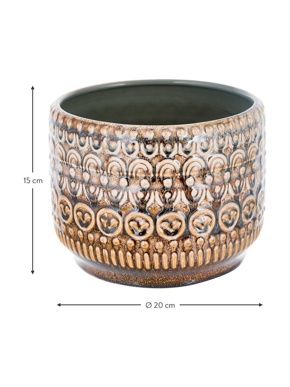 Handgemaakte plantenpot Finka van keramiek, Steengoed, Groentinten, oranje, Ø 20 x H 15 cm