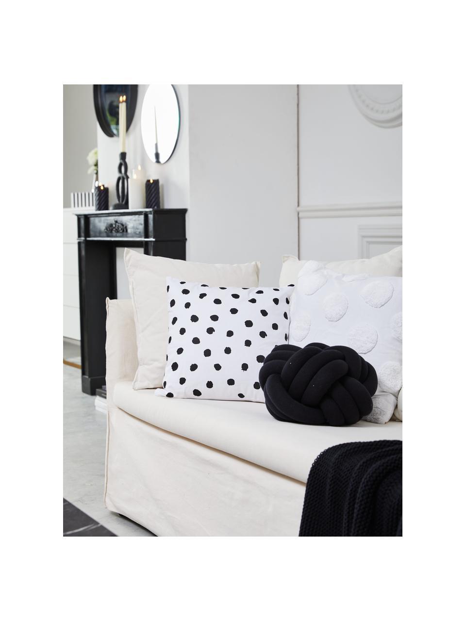 Federa arredo punteggiata Riley, 100% cotone, Nero, bianco, Larg. 40 x Lung. 40 cm