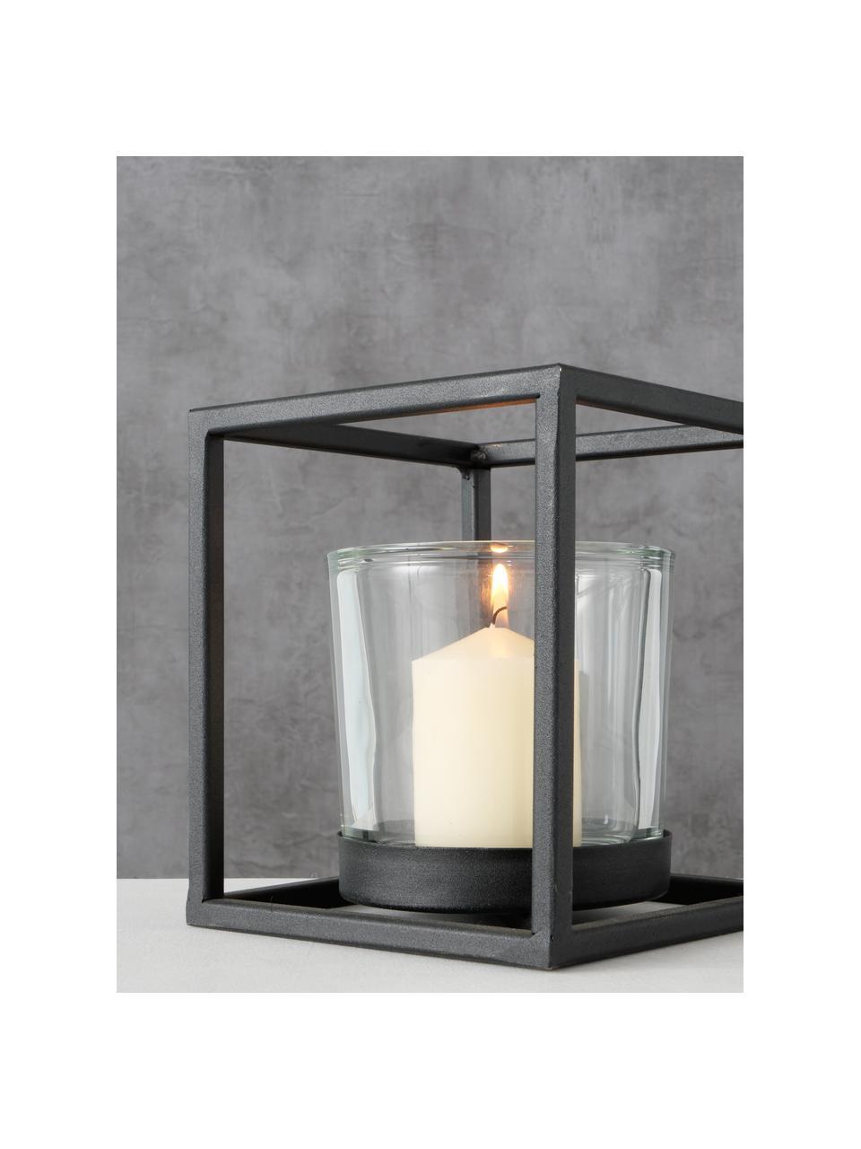 Windlicht Quattro, Gestell: Metall, beschichtet, Schwarz, 16 x 18 cm