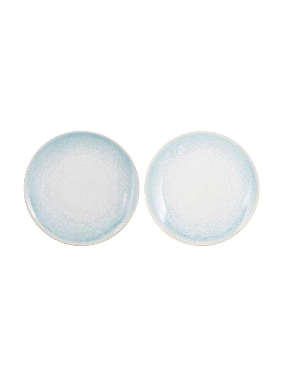 Assiette plate artisanale Amalia, 2pièces, Bleu ciel, blanc crème