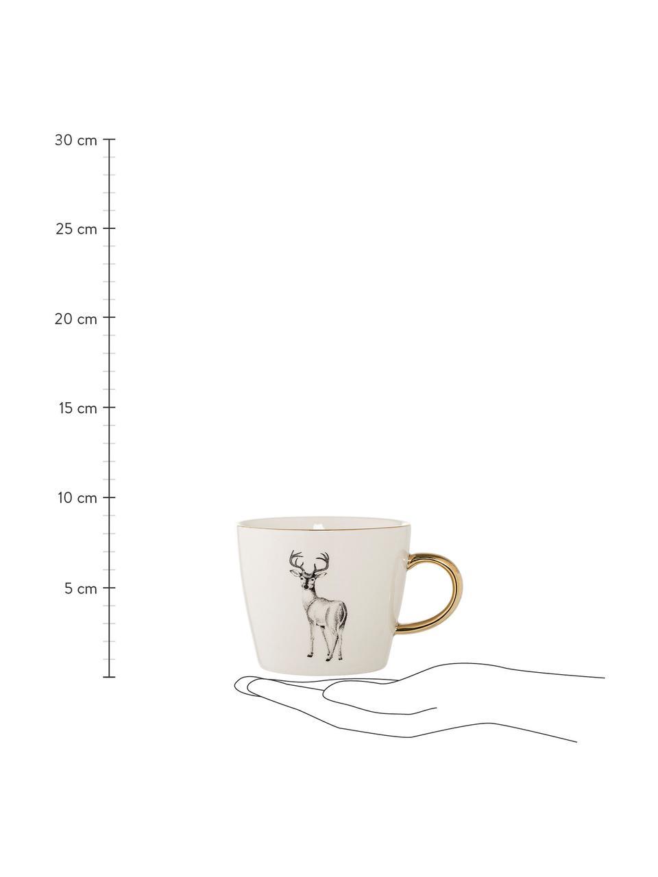 Kaffeetassen Noel aus Steingut mit winterlichen Motiven, 2er-Set, Steingut, Weiß, Schwarz, Goldfarben, Ø 10 x H 8 cm