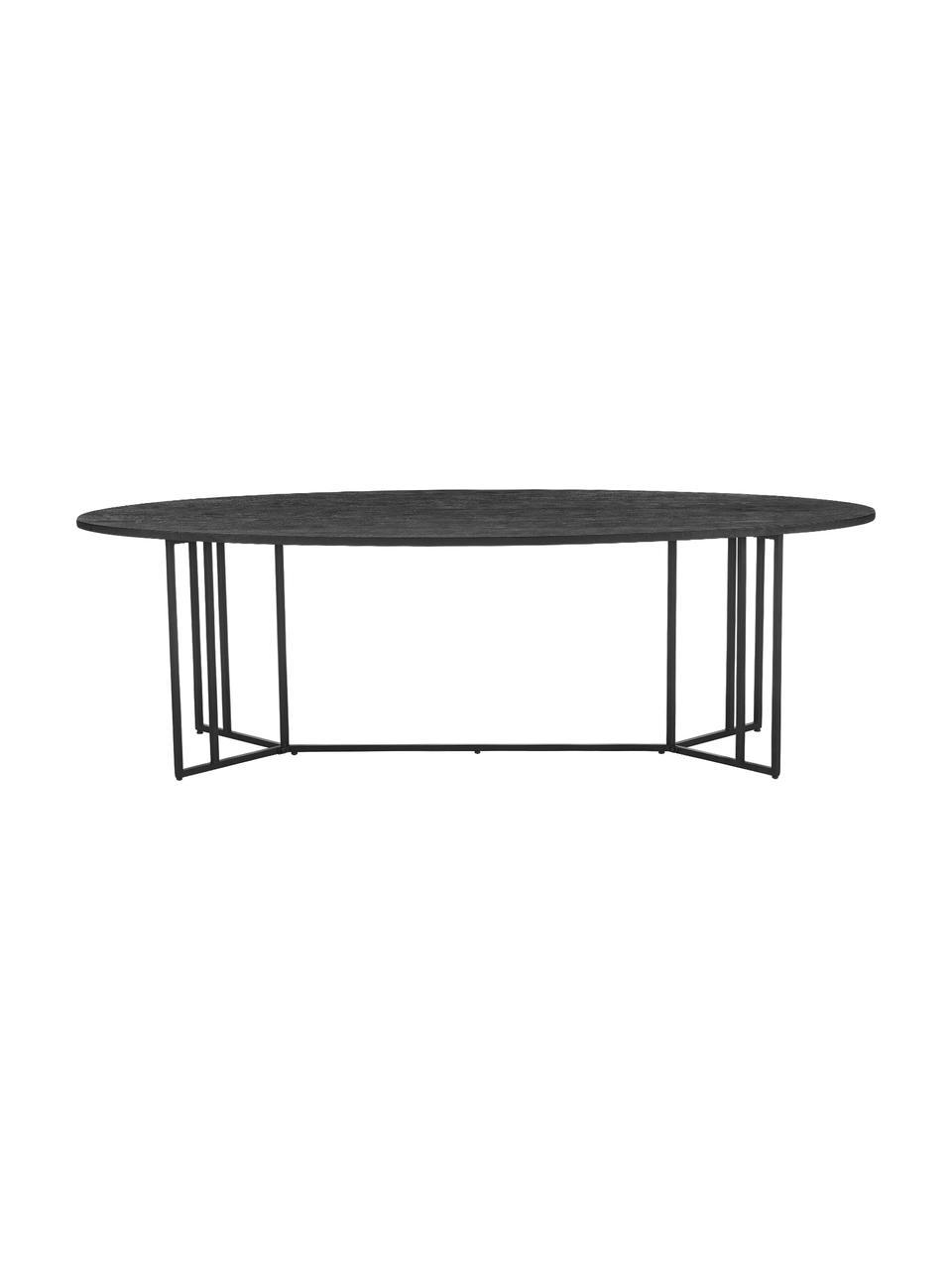 Owalny stół do jadalni z blatem z litego drewna Luca, Blat: lite drewno mangowe, szcz, Stelaż: metal malowany proszkowo, Drewno mangowe lakierowane na czarno, S 240 x G 100 cm