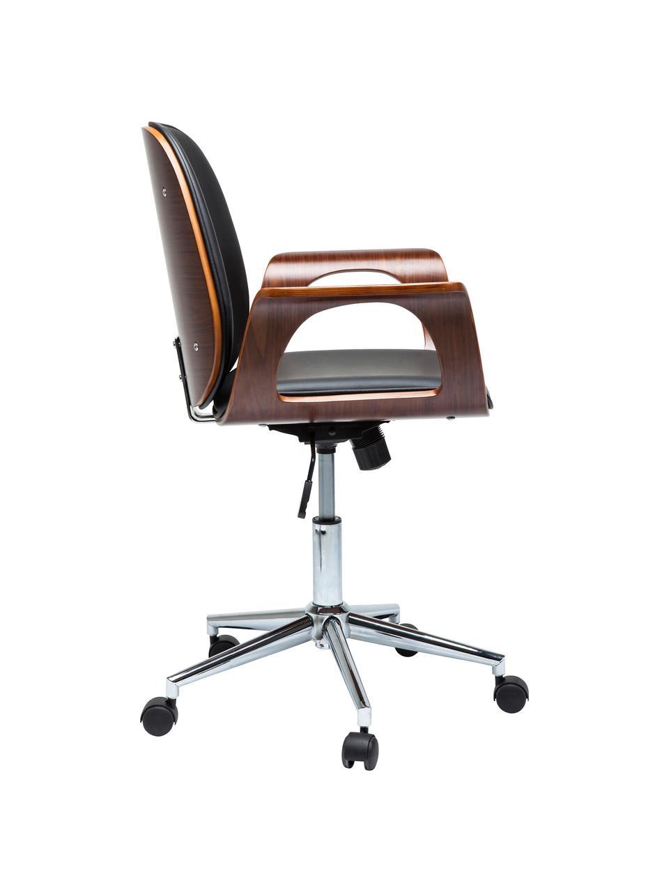Krzesło biurowe ze sztucznej skóry Patron, obrotowe, Tapicerka: poliuretan, Nogi: metal malowany proszkowo, Brązowy, czarny, S 67 x G 56 cm