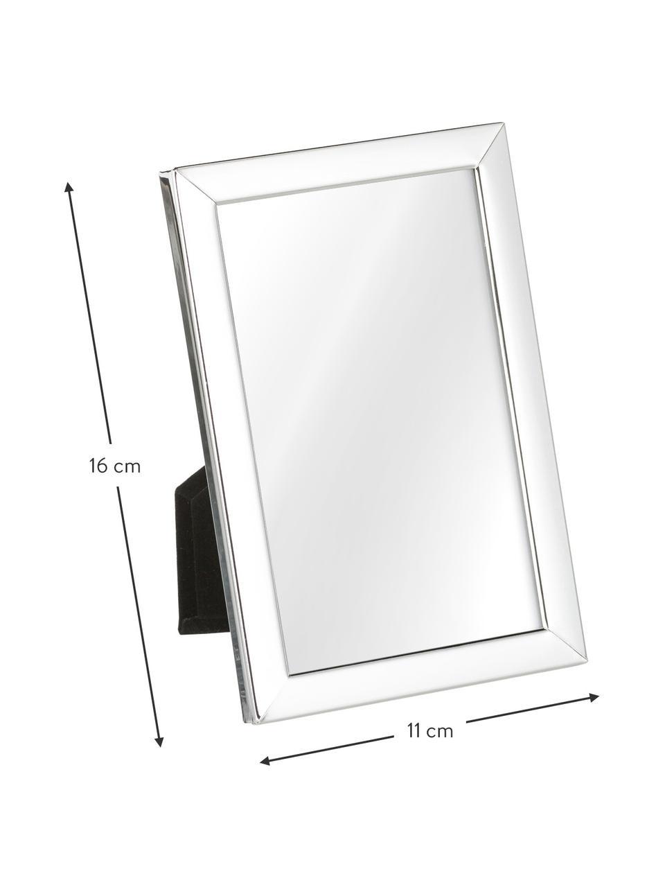 Bilderrahmen Aosta, Rahmen: Metall, versilbert, Front: Glas, Rückseite: Mitteldichte Faserplatte , Silber, 13 x 18 cm