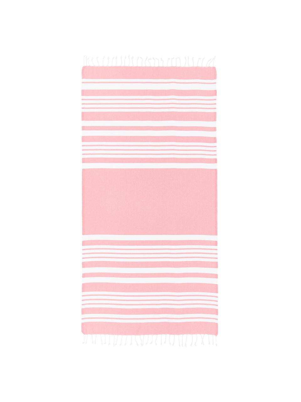 Fouta z frędzlami Stripy, Bawełna Bardzo niska gramatura, 185 g/m², Różowy, biały, S 95 x D 175 cm