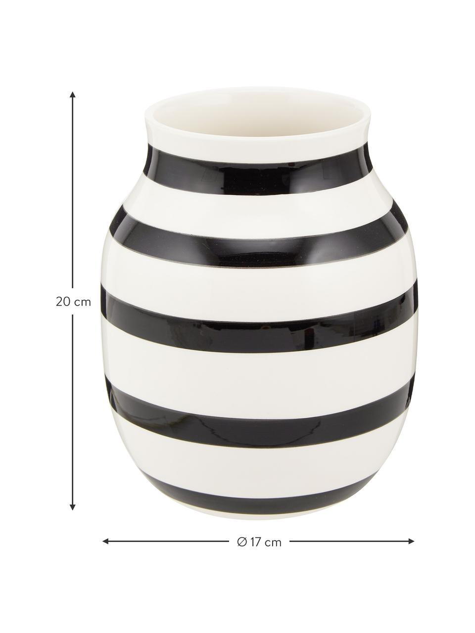 Vaso di design fatto a mano Omaggio, Ceramica, Nero, bianco, Ø 17 x Alt. 20 cm