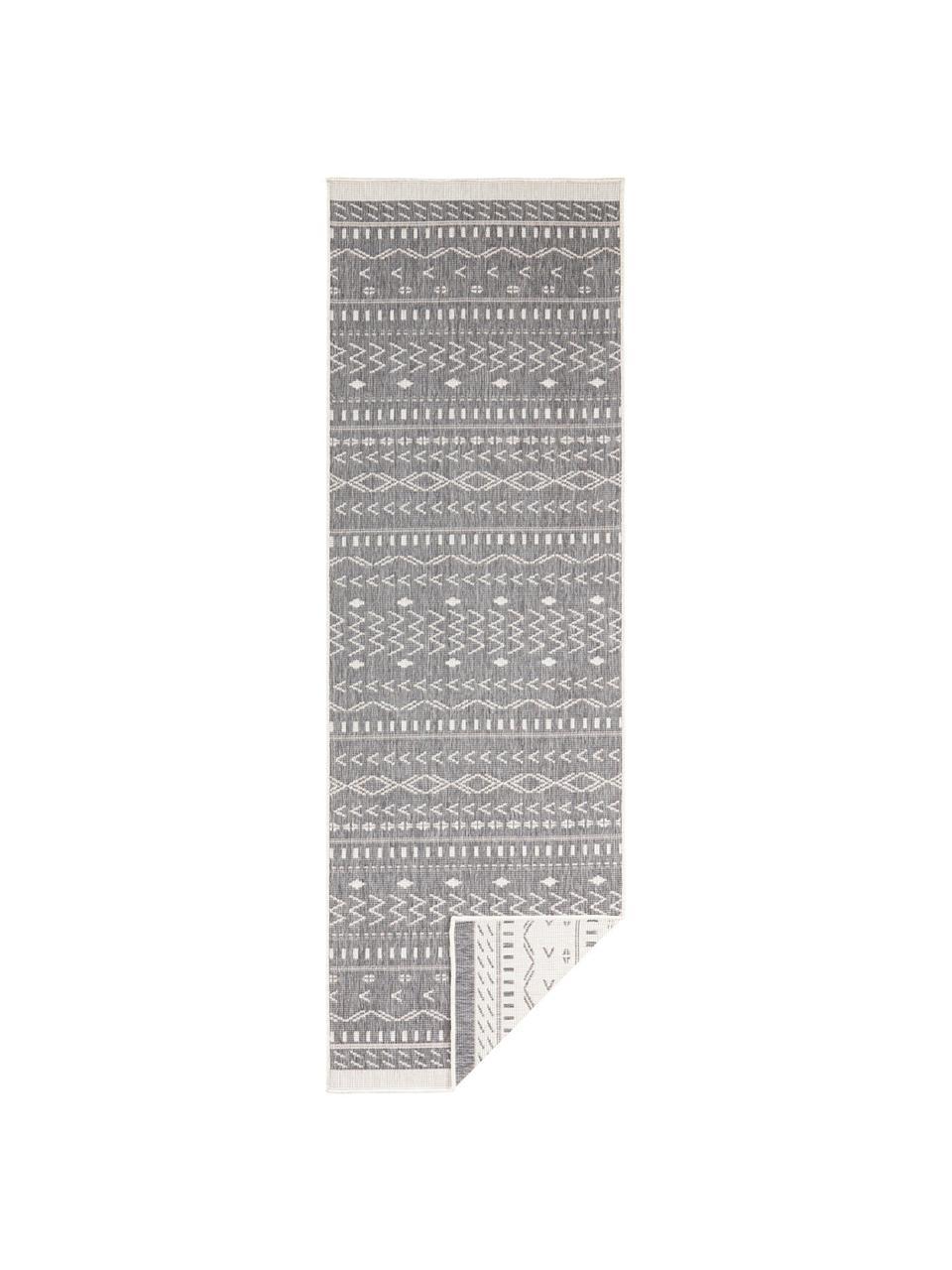 Passatoia reversibile da interno-esterno Kuba, Grigio, crema, Larg. 80 x Lung. 250 cm