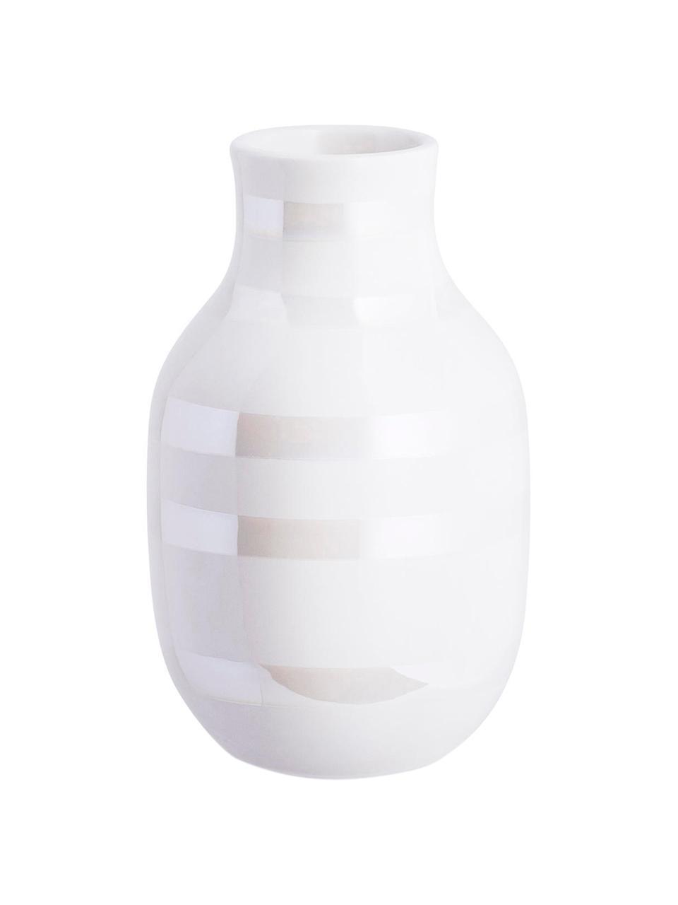 Mały ręcznie wykonany wazon Omaggio, Ceramika, Biały, odcienie perłowe, Ø 8 x W 13 cm