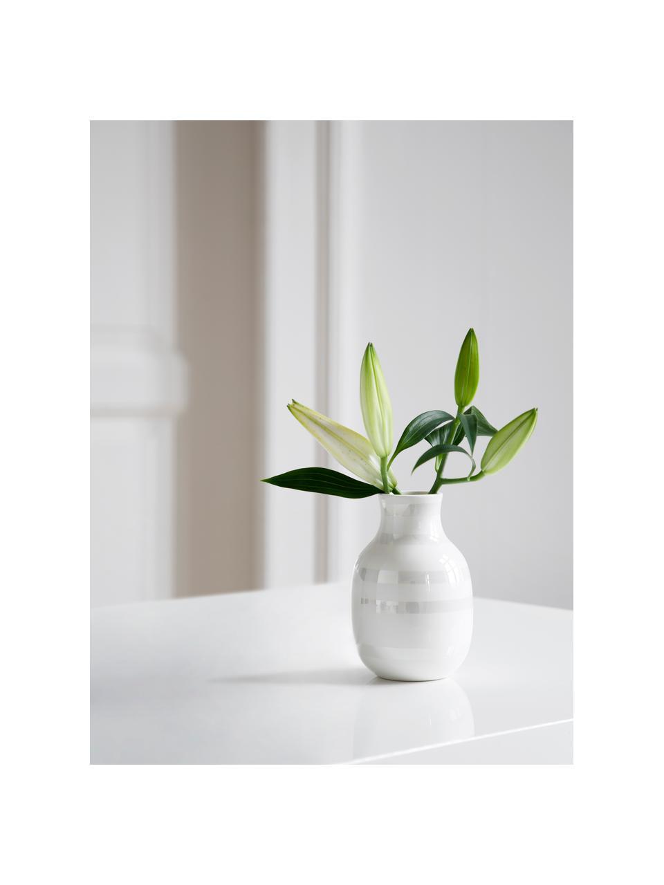 Petit vase design fait main Omaggio, Blanc, nacré