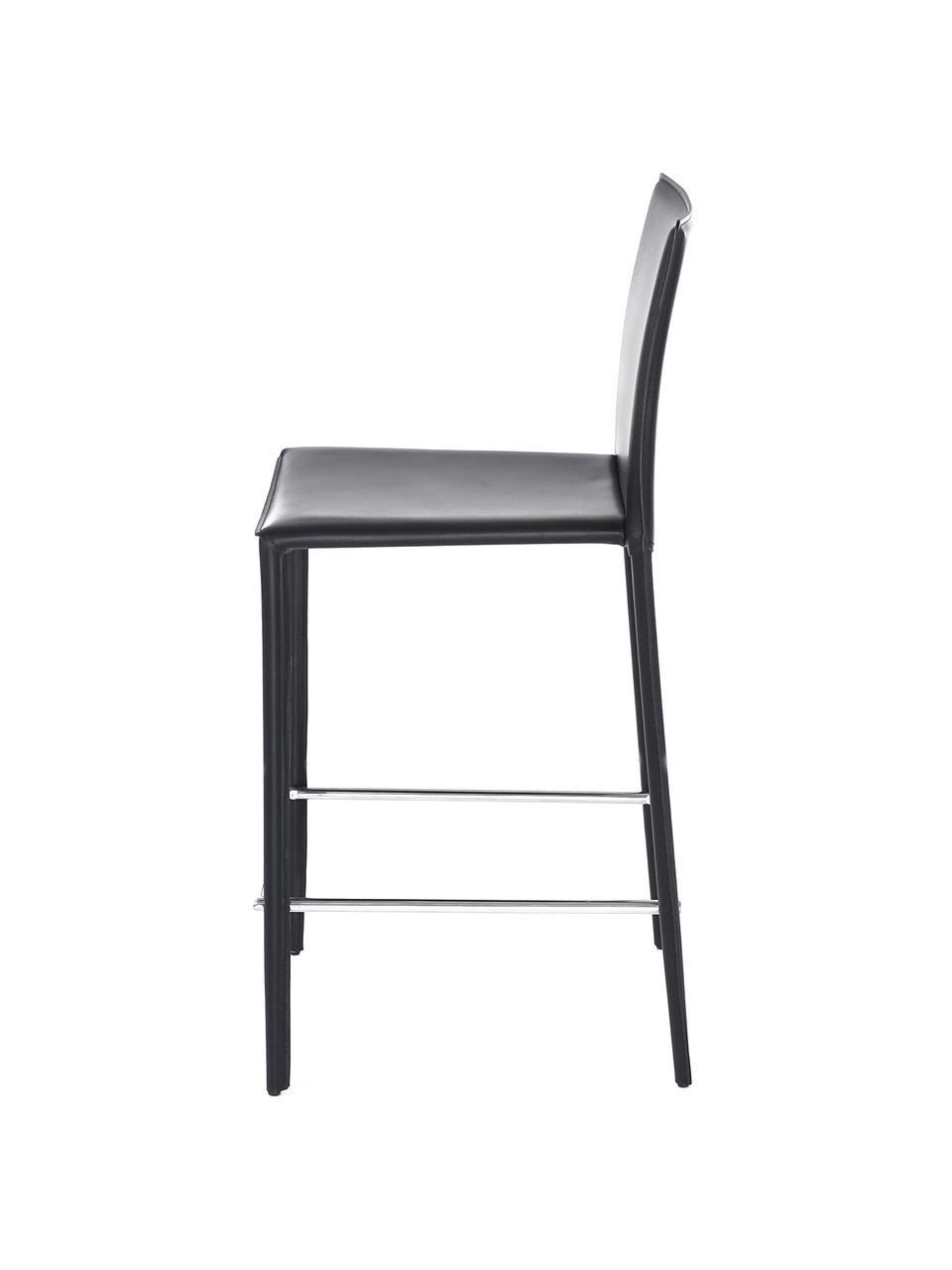 Krzesło kontuarowe ze skóry Boréalys, 2szt., Stelaż: metal malowany proszkowo, Czarny, S 44 x W 98 cm