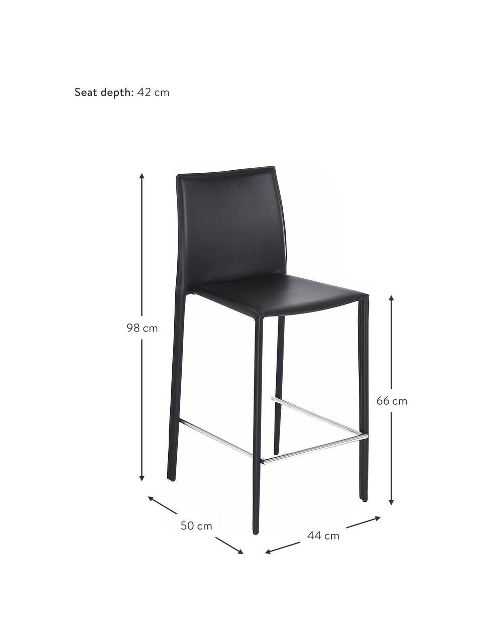 Leder-Thekenstühle Boréalys in Schwarz, 2 Stück, Sitzfläche: Recyceltes Leder (70% Led, Gestell: Metall, pulverbeschichtet, Schwarz, 44 x 98 cm