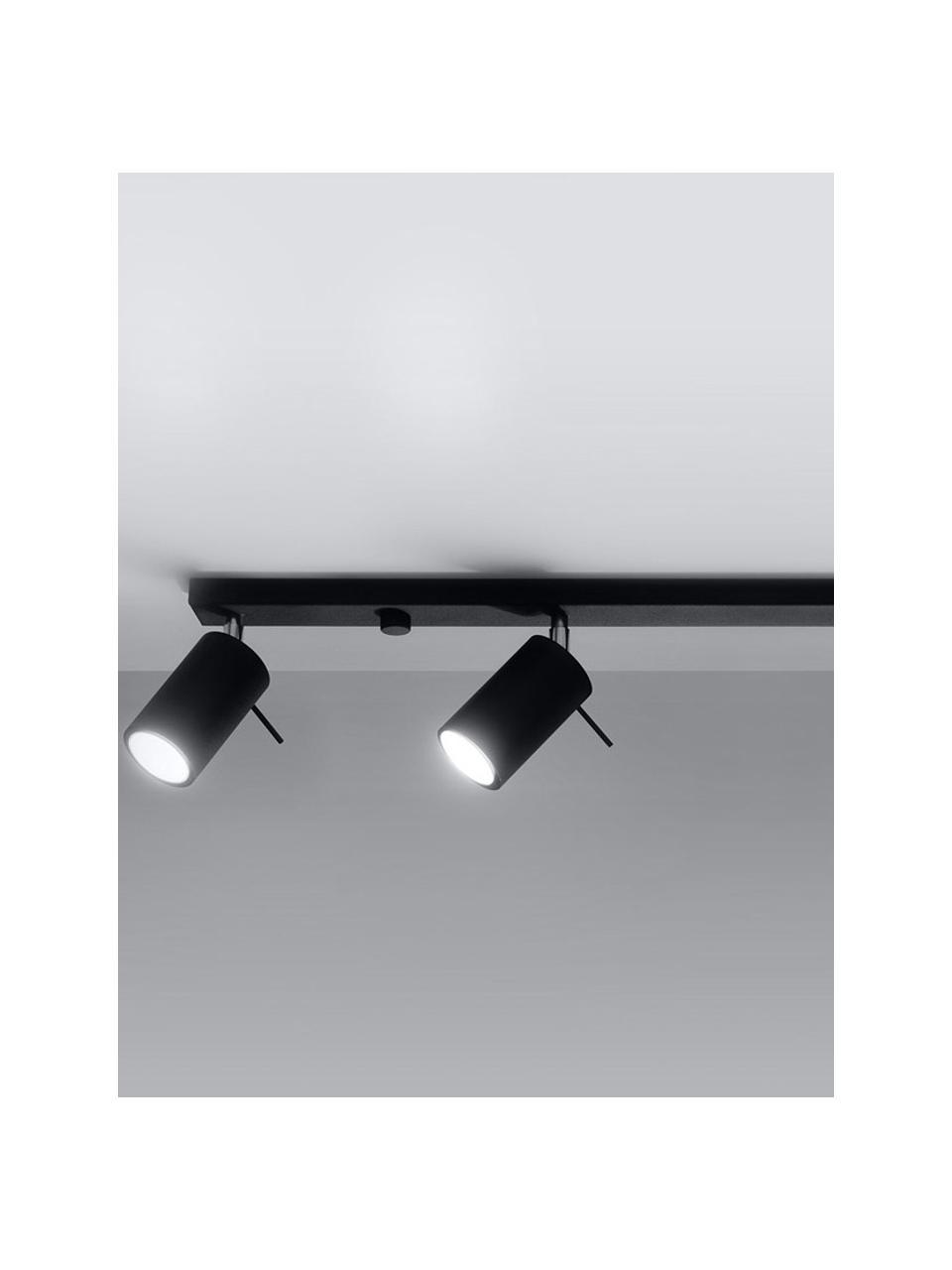 Faretti da soffitto neri Etna, Paralume: acciaio verniciato, Baldacchino: acciaio verniciato, Nero, Larg. 81 x Alt. 16 cm