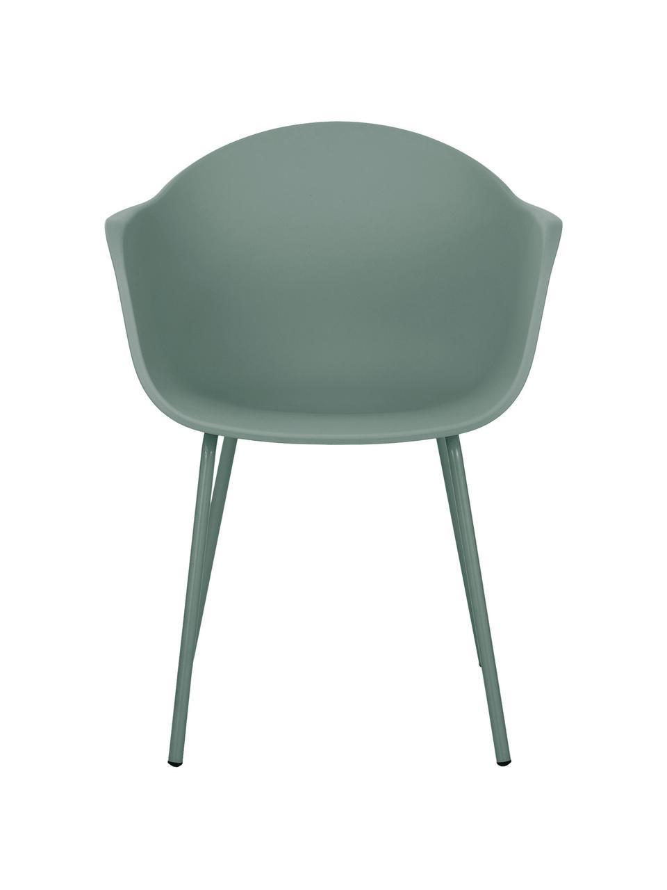 Kunststoff-Armlehnstuhl Claire mit Metallbeinen, Sitzschale: Kunststoff, Beine: Metall, pulverbeschichtet, Grün, B 60 x T 54 cm