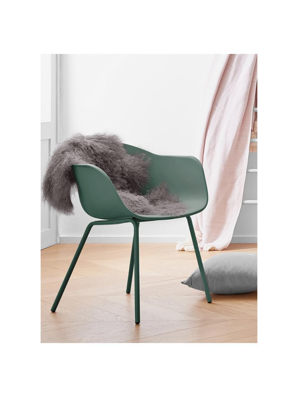 Krzesło z podłokietnikami z tworzywa sztucznego Claire, Nogi: metal malowany proszkowo, Zielony, S 60 x G 54 cm